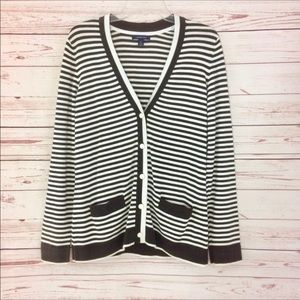 Lands' End Striped Brown & Cream Cardigan Sweater